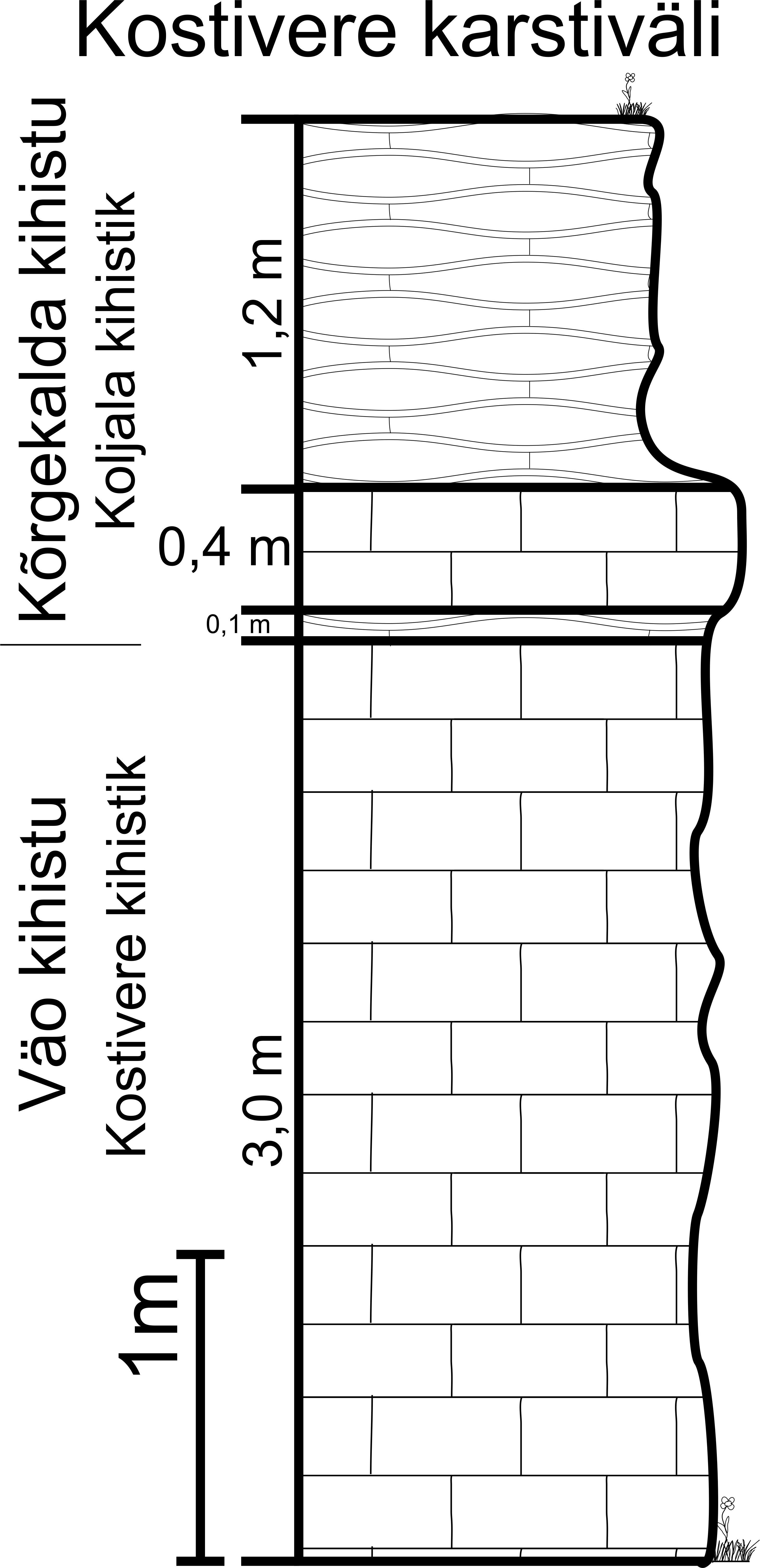 Kostivere karstivälja läbilõige 2013. aastal (joonis: Paiste T.).