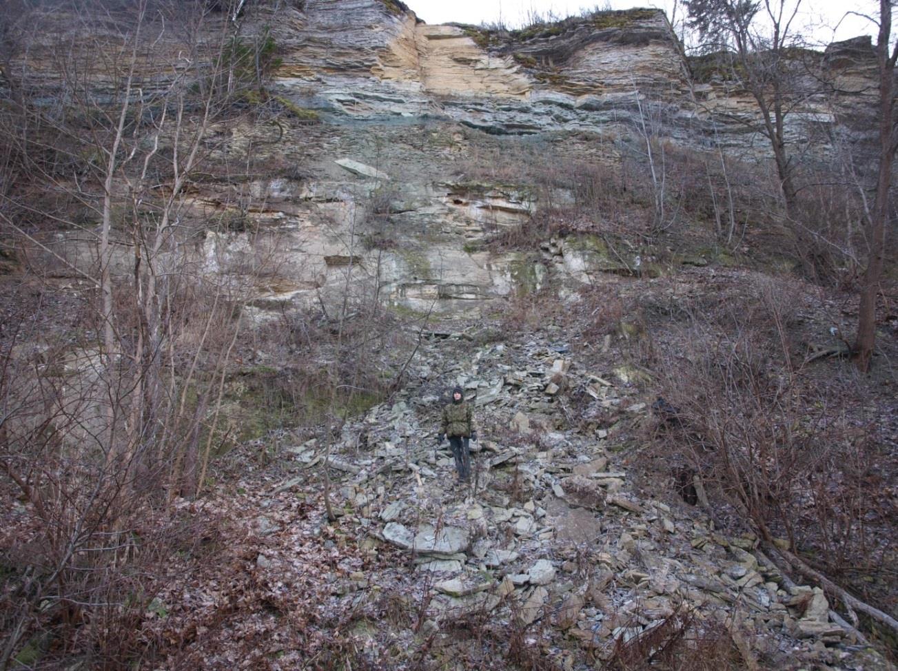 Rannamõisa pank. Läibilõike koht, näha kihistud Tiskrest Toilani (foto: T. Ani, 2013).