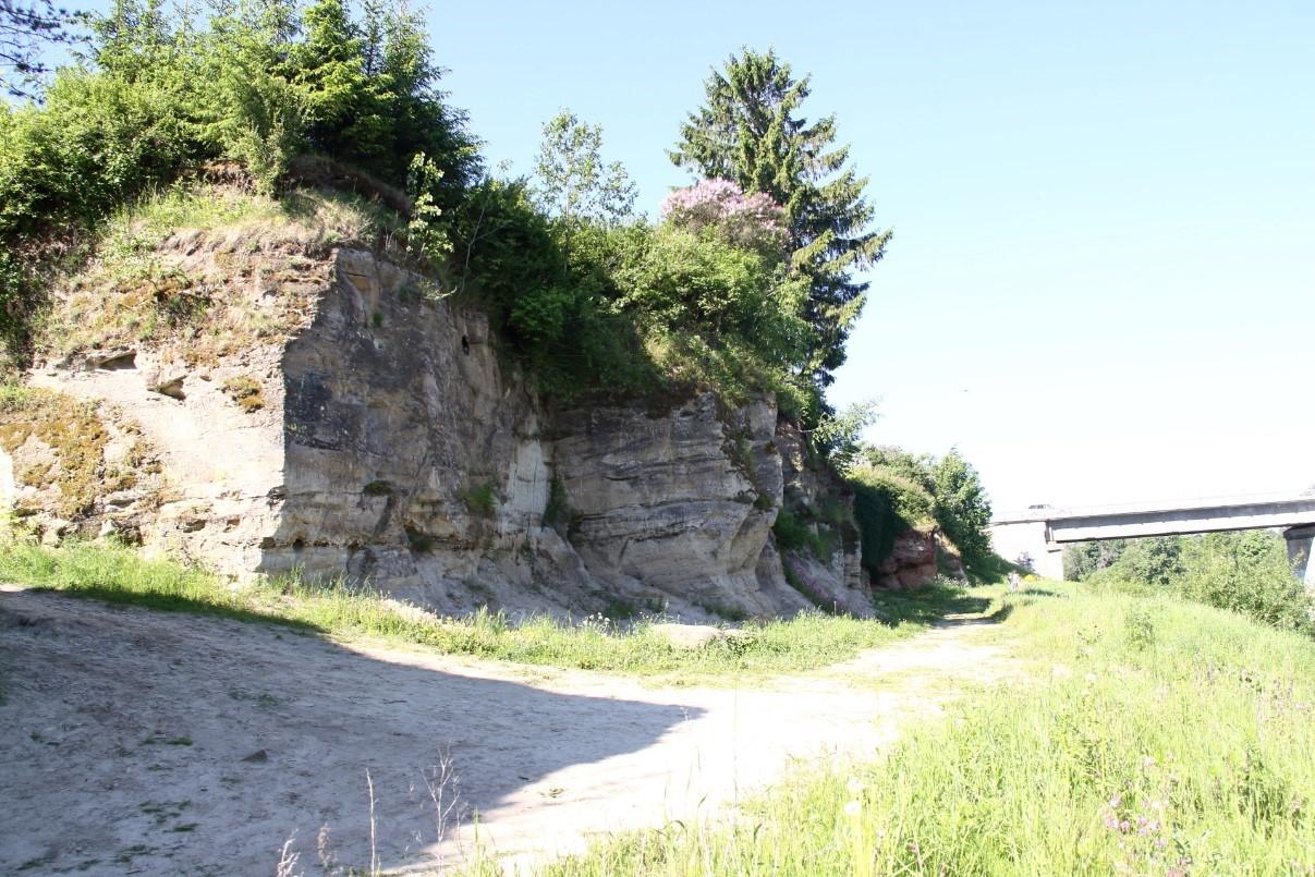 Vaade Tori Põrgu paljandi keskosast silla suunas (foto: T. Meidla 2017).